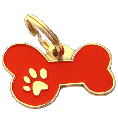 BONE MJAVHOV RED - pet ID tag, dog ID tags, pet tags, personalized pet tags MjavHov - engraved pet tags online